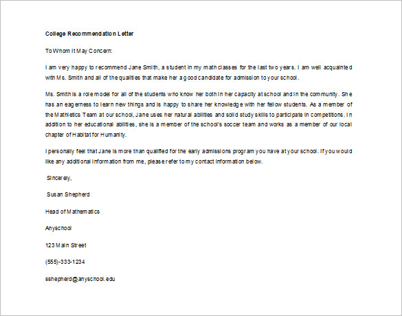 Recommendation Letter for Student from Teacher   Sample, Example