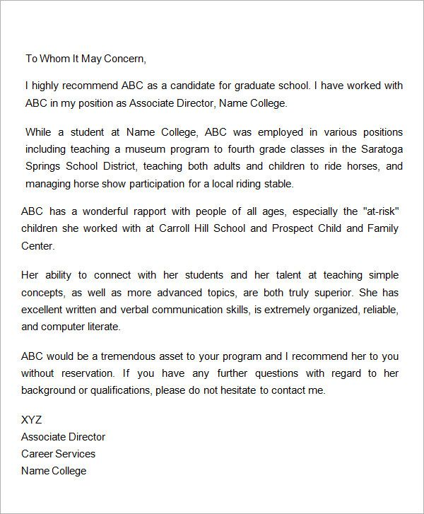 letter of recommendation for graduate school from employer pdf