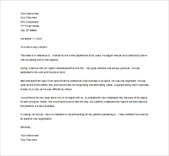 Job Recommendation Letter Templates - 15+ Sample, Examples ...
