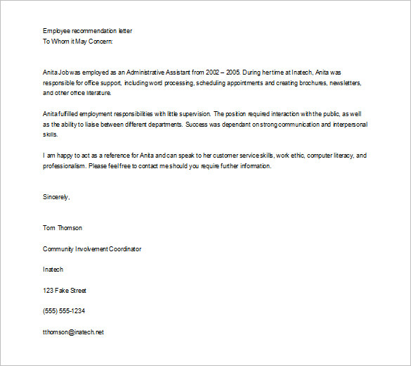 Letter Of Employment Reference  U2014 Endorsement